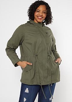 Plus Olive Drawstring Hooded Anorak Jacket