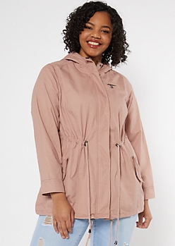Plus Pink Drawstring Hooded Anorak Jacket