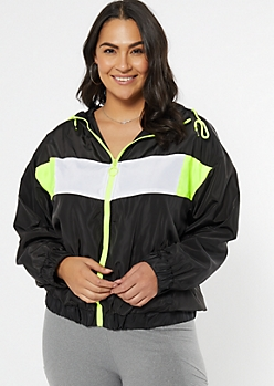 Plus Black Colorblock Full Zip Windbreaker
