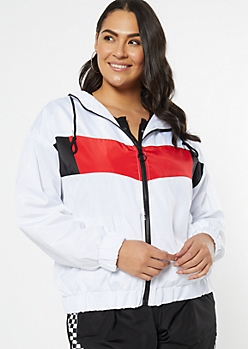 Plus White Colorblock Full Zip Windbreaker