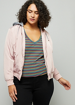 Plus Pink Hooded Slick Bomber Jacket