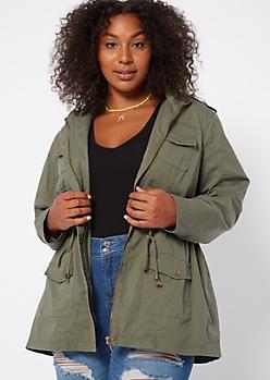 Plus Olive Zip Front Anorak Jacket