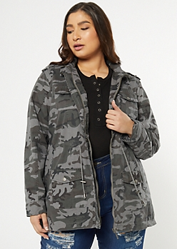 Plus Gray Camo Print Zip Front Anorak Jacket