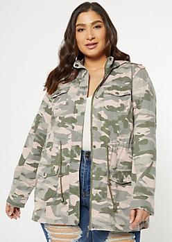 Plus Pink Camo Print Zip Front Anorak Jacket