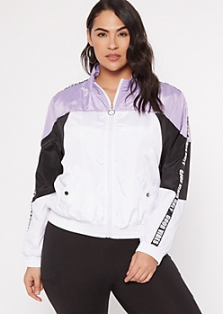 Plus Purple Colorblock Good Vibes Windbreaker