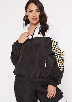 Plus Checkered Print Sunflower Colorblock Windbreaker