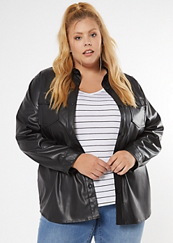 Plus Black Faux Leather Shirt Jacket