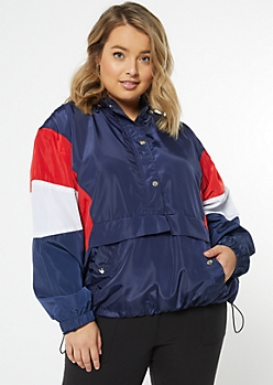 Plus Navy Colorblock Pullover Windbreaker