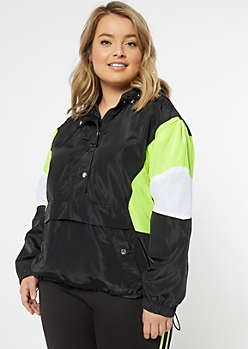 Plus Black Neon Colorblock Pullover Windbreaker