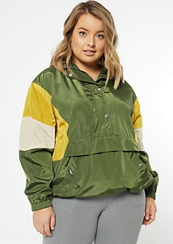 Plus Olive Colorblock Pullover Windbreaker