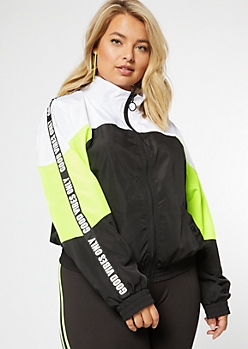 Plus Neon Good Vibes Colorblock Mock Neck Windbreaker