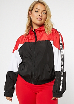 Plus Red Stay Positive Colorblock Mock Neck Windbreaker