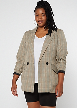 Plus Tan Plaid Oversize Double Button Blazer