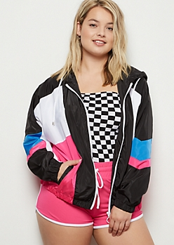 Plus Neon Pink Colorblock Windbreaker