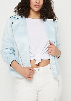 Plus Blue Contrast Zip Moto Jacket