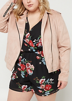 Plus Pink Faux Suede Moto Jacket