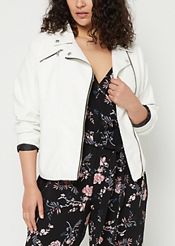 Plus White Faux Leather Moto Jacket