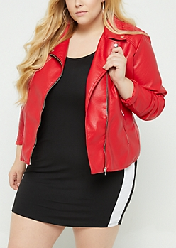 Plus Red Faux Leather Moto Jacket