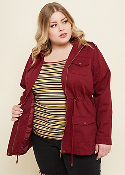 Plus Burgundy Hooded Twill Anorak Jacket