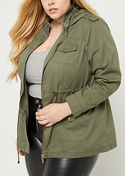 Plus Olive Hooded Anorak Zip Jacket
