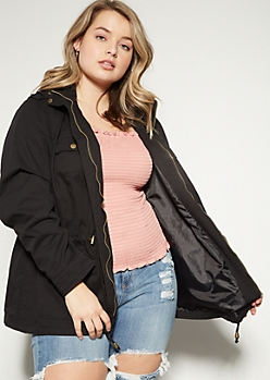 Plus Black Hooded Anorak Jacket