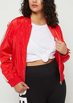Plus Red Varsity Stripe Track Jacket