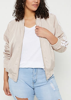 Plus Nude Varsity Stripe Track Jacket