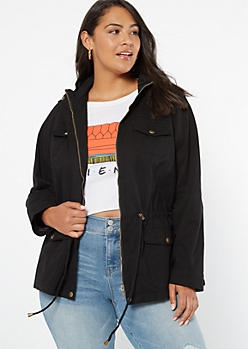 Plus Black Zip Front Toggle Anorak Jacket