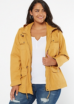 Plus Mustard Zip Front Toggle Anorak Jacket