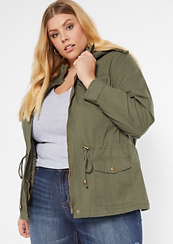 Olive Zip Front Toggle Anorak Jacket