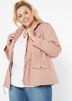 Plus Pink Zip Front Toggle Anorak Jacket