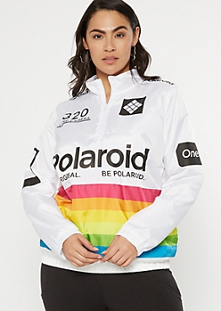 Plus White Polaroid Horizontal Striped Windbreaker