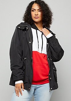 Plus Black Tie Waist Hooded Anorak Jacket