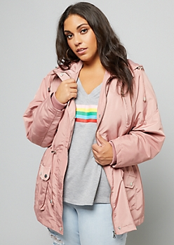 Plus Light Pink Tie Waist Hooded Anorak Jacket