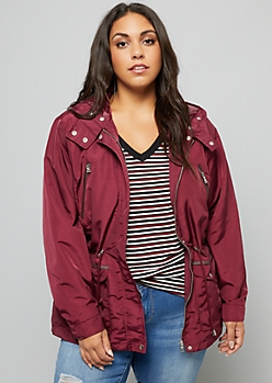 Plus Burgundy Quilted Shoulder Hooded Anorak Jacket