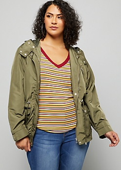 Plus Olive Quilted Shoulder Hooded Anorak Jacket