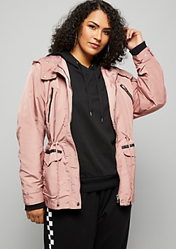 Plus Pink Quilted Shoulder Hooded Anorak Jacket