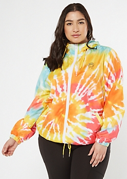 Plus Tie Dye Drippy Smiley Windbreaker