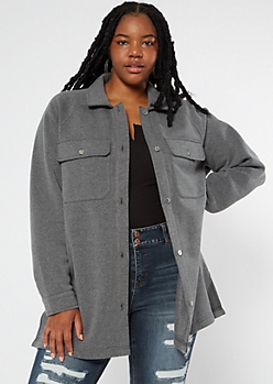 Plus Charcoal Gray Oversize Fleece Shirt Jacket