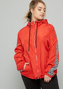 Plus Red Checkered Print Zip Front Windbreaker