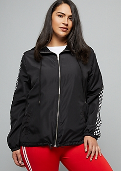 Plus Black Checkered Print Striped Zip Front Windbreaker