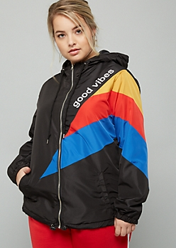 Plus Black Colorblock Good Vibes Zip Front Graphic Windbreaker