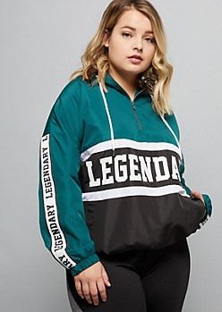 Plus Teal Legendary Colorblock Striped Graphic Windbreaker