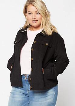 Plus Black Corduroy Jacket