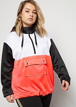 Plus Neon Coral Colorblock Front Pocket Hoodie