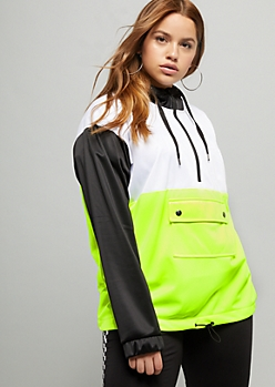 Plus Neon Yellow Colorblock Front Pocket Hoodie