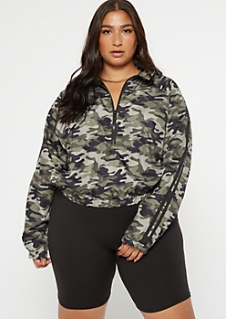 Plus Camo Print Cropped Side Striped Windbreaker