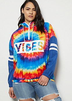 Plus Rainbow Tie Dye Vibes Striped Graphic Windbreaker
