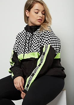 Plus Neon Yellow Hustle Checkered Print Windbreaker