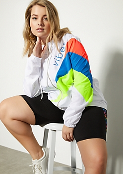 Plus White Colorblock Vibes Zip Front Graphic Windbreaker
